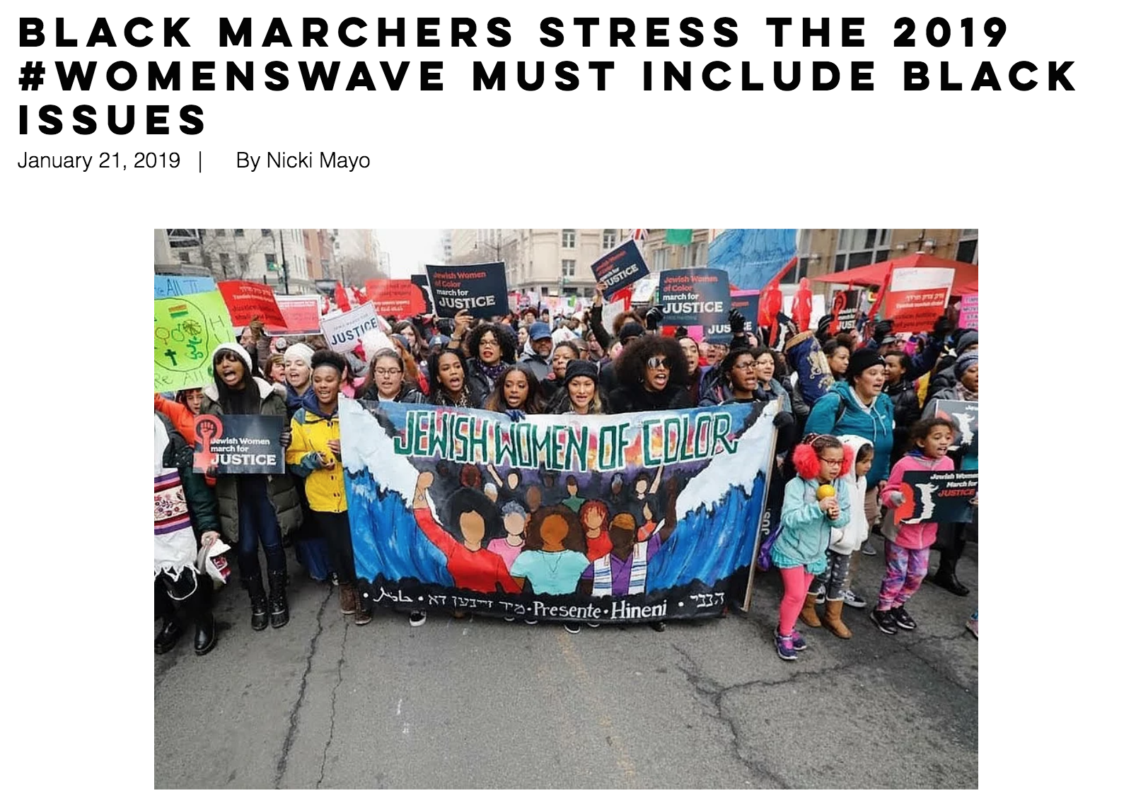 01/21/19: Black marchers stress the 2019 #WomensWave must include Black issues